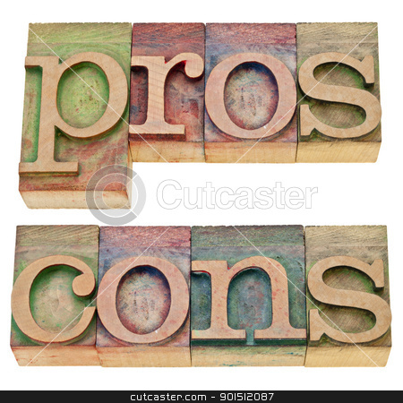 pros and cons in letterpress type stock photo, pros and cons - positive and negative aspects - a collage of two isolated words in vintage wood letterpress printing blocks by Marek Uliasz