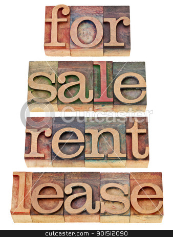 for sale, rent, lease stock photo, for sale, rent, lease - a collage of isolated words in vintage wood letterpress printing blocks by Marek Uliasz