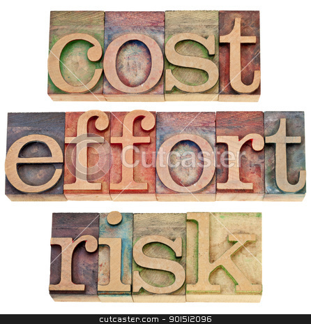 cost, effort, risk - business concept stock photo, cost, effort, risk - business concept - a collage of three isolated words in vintage wood letterpress printing blocks by Marek Uliasz