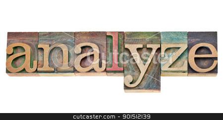 analyze  - word in letterpress type stock photo, analyze - isolated word in vintage wood letterpress printing blocks stained by colorful inks by Marek Uliasz