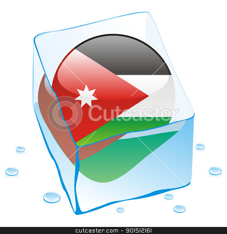 jordan button flag frozen in ice cube stock vector clipart, fully editable vector illustration of jordan button flag frozen in ice cube by pilgrim.artworks
