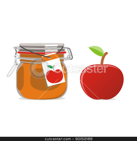 isolated red apple jam jar and fruit stock vector clipart, fully editable vector illustration of isolated red apple jam jar and fruit by pilgrim.artworks