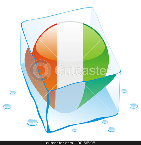 ivory coast button flag frozen in ice cube stock vector clipart, fully editable vector illustration of ivory coast button flag frozen in ice cube by pilgrim.artworks