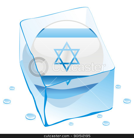 israel button flag frozen in ice cube stock vector clipart, fully editable vector illustration of israel button flag frozen in ice cube by pilgrim.artworks