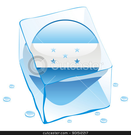 honduras button flag frozen in ice cube stock vector clipart, fully editable vector illustration of honduras button flag frozen in ice cube by pilgrim.artworks