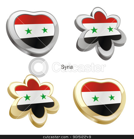 syria flag in heart and flower shape stock vector clipart, fully editable vector illustration of syria flag in heart and flower shape by pilgrim.artworks