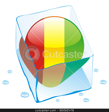 guinea button flag frozen in ice cube stock vector clipart, fully editable vector illustration of guinea button flag frozen in ice cube by pilgrim.artworks