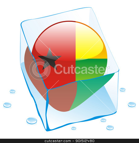 guinea bissau button flag frozen in ice cube stock vector clipart, fully editable vector illustration of guinea bissau button flag frozen in ice cube by pilgrim.artworks
