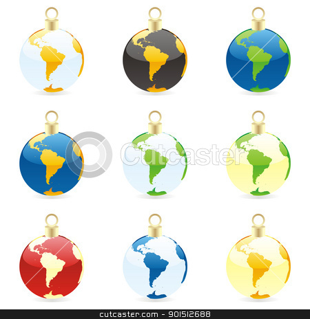 christmas bulbs with world globe stock vector clipart, fully editable colored christmas bulbs with world globe layout by pilgrim.artworks