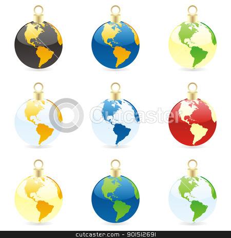 christmas bulbs with world globe stock vector clipart, fully editable colored christmas bulbs with world globe layout by pilgrim.artworks