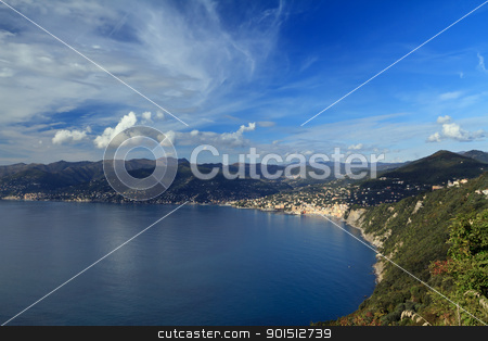 Camogli and Paradise Gulf stock photo, aerial view of Golfo Paradiso with Camogli village, Liguria, Italy by ANTONIO SCARPI