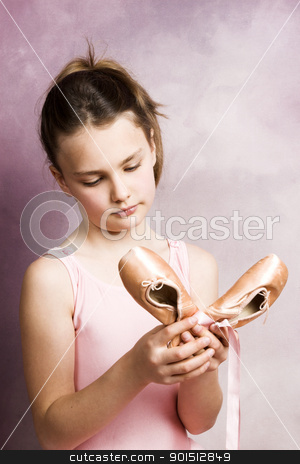 Young dancer stock photo, Young dancer wearing a pink costume with a beautiful expression by Carla Booysen