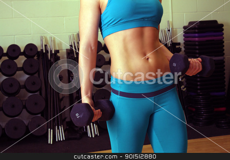 Athletic Female Torso (2) stock photo, A close-up of a female torso with exceptional abdominal muscle tone. by Carl Stewart