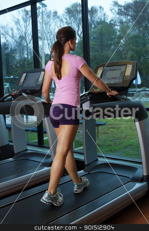 Beautiful Female Athlete on a Treadmill (1) stock photo, A lovely young, athletic brunette exercises on a treadmill. by Carl Stewart