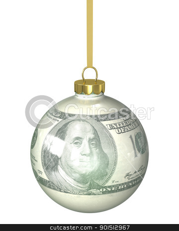 Christmas ball with dollar texture stock photo, Christmas ball with dollar texture isolated on white background by Zelfit
