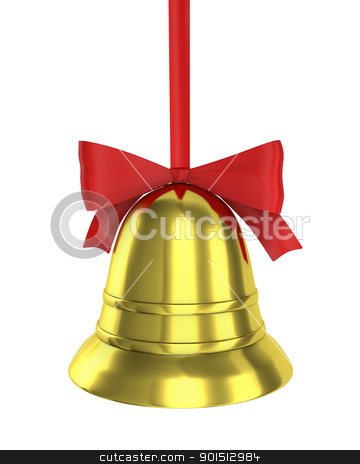 Christmas bell with red ribbon  stock photo, Christmas bell with red ribbon isolated on white background by Zelfit