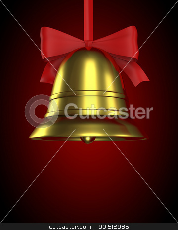 Christmas bell with red ribbon stock photo, Christmas bell with red ribbon on red gradient background by Zelfit