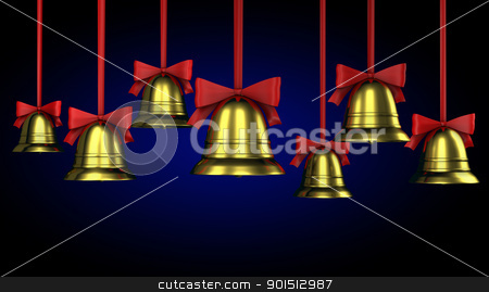 A lot of Christmas bells with red ribbons stock photo, A lot of Christmas bells with red ribbons on a blue gradient background by Zelfit