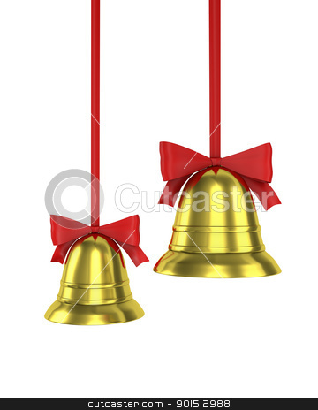 Two Christmas bells with red ribbons stock photo, Two Christmas bells with red ribbons isolated on white background by Zelfit