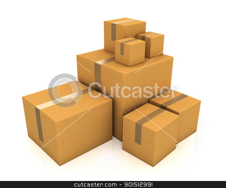 Stack of different sized carton boxes stock photo, Stack of different sized carton boxes isolated on white background by Zelfit