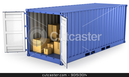 Blue opened container with carton boxes inside stock photo, Blue opened container with carton boxes inside, isolated on white background by Zelfit