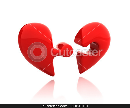 Heart puzzle from two parts broken down stock photo, Heart puzzle from two parts broken down isolated on white background by Zelfit