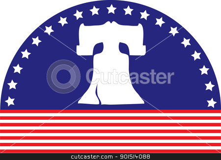 Liberty Bell Flag stock vector clipart, An image of the Liberty Bell, sits on an arched blue background with white stars, above a foundation of red stripes. by Maria Bell