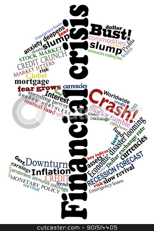Crisis dollar stock vector clipart, Vector dollar sign made financial crisis headlines by Robert Adrian Hillman
