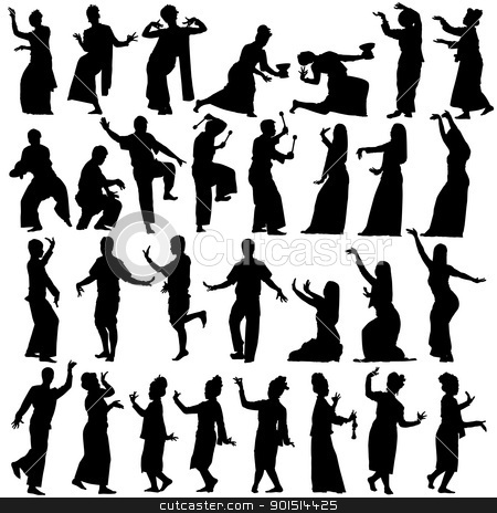 Thai dancers stock vector clipart, Set of editable vector silhouettes of traditional Thai dancers by Robert Adrian Hillman