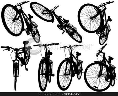 Mountain bikes stock vector clipart, Set of detailed vector silhouettes of the same bicycle from different angles by Robert Adrian Hillman