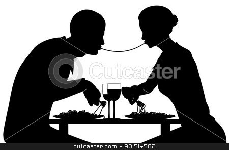 Spaghetti lovers stock vector clipart, Editable vector silhouette of lovers eating spaghetti together with all elements as separate objects by Robert Adrian Hillman
