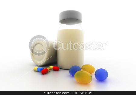medicine bottles and pills stock photo, medicine bottles and pills by dileep
