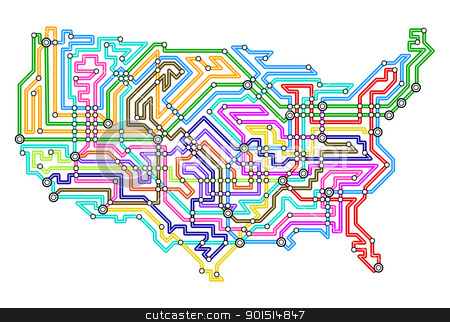 USA underground stock vector clipart, Editable vector illustrated map of the USA by Robert Adrian Hillman