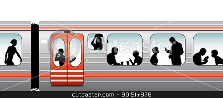 Train stock vector clipart, Editable vector illustration of passengers on a train by Robert Adrian Hillman