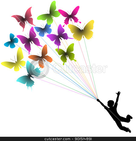 Butterfly boy stock vector clipart, Vector silhouette of a boy carried by flying butterflies by Robert Adrian Hillman