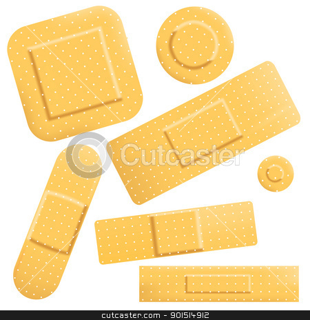 Plasters stock vector clipart, Set of editable vector sticky plasters of different shapes by Robert Adrian Hillman