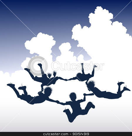 Skydiving children stock vector clipart, Editable vector illustration of a ring of skydiving children by Robert Adrian Hillman