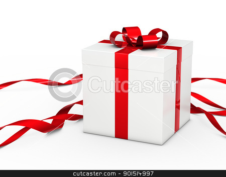white christmas gift  stock photo, white christmas gift box with red ribbon by d3images