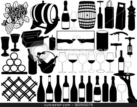 Wine set stock vector clipart, Collection of wine objects isolated on white by Ioana Martalogu