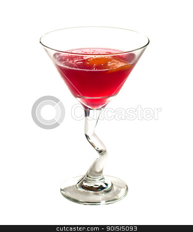 Cosmopolitan cocktail stock photo, Classic Cosmopolitan Cocktail drink isolated on white background by borojoint