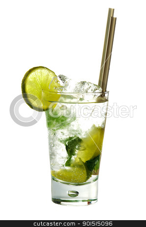 Mojito cocktail stock photo, Mojito cocktail drink with lime isolated on white background by borojoint