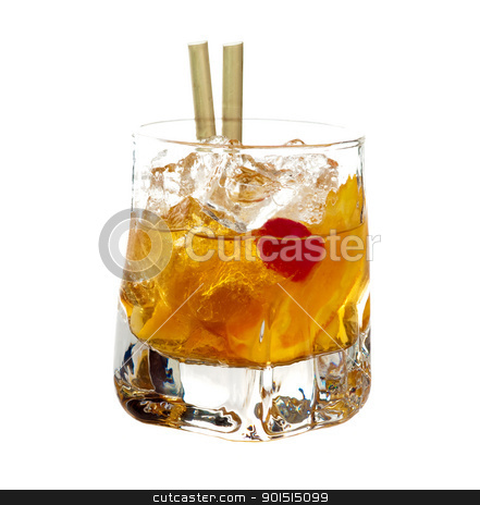 Old Fashioned cocktail stock photo, Old fasioned cocktail isolated on white background by borojoint