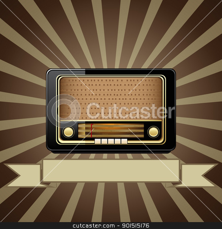 Vector old radio stock vector clipart, Vector retro background with old radio  by Vladimir Gladcov