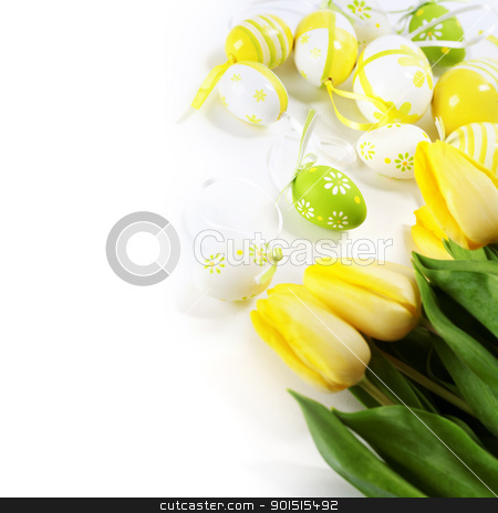 easter eggs with yellow tulip flowers stock photo, easter eggs with yellow tulip flowers  isolated on white background by klenova