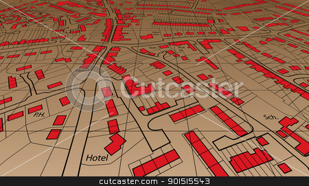 Angled map stock vector clipart, Angled view of an editable vector housing map of a generic town by Robert Adrian Hillman
