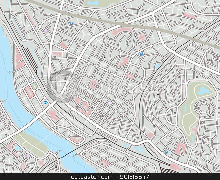 Any city map stock vector clipart, Editable vector map of a generic city with no names by Robert Adrian Hillman