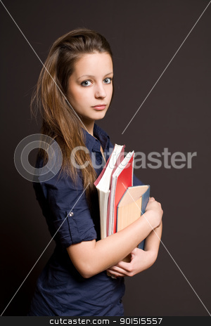 Worried looking young student. stock photo, Half length portrait of a worried looking young pretty student. by exvivo