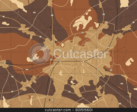 Brown map stock vector clipart, Detailed editable vector generic map with no names by Robert Adrian Hillman