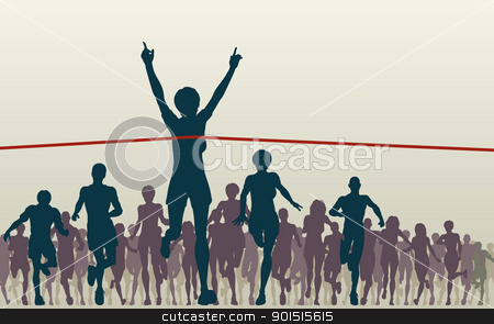 Champ stock vector clipart, Editable vector illustration of a woman winning a race by Robert Adrian Hillman