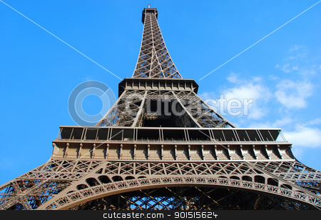 Eiffel Tower stock photo, Eiffel Tower in Paris on a sunny day by Claude Gariepy